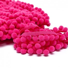 Galon pompon medium - fuchsia x 1m