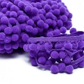 Medium pompom braid trimming - purple x 1m