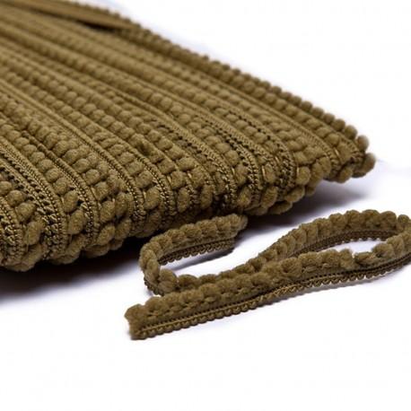 Little pompom braid trimming - khaki x 1m