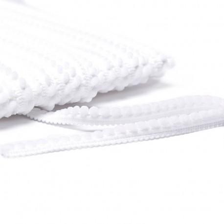Little pompom braid trimming - white x 1m