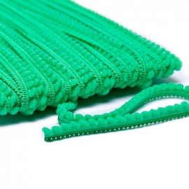 Little pompom braid trimming - bright green x 1m