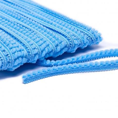 Little pompom braid trimming - sky blue x 1m