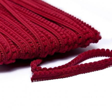 Little pompom braid trimming - burgundy x 1m