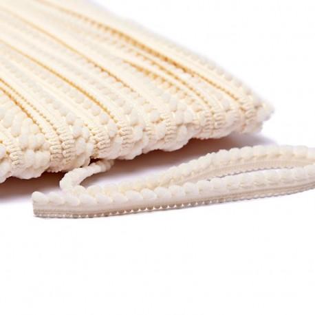 Little pompom braid trimming - cream x 1m