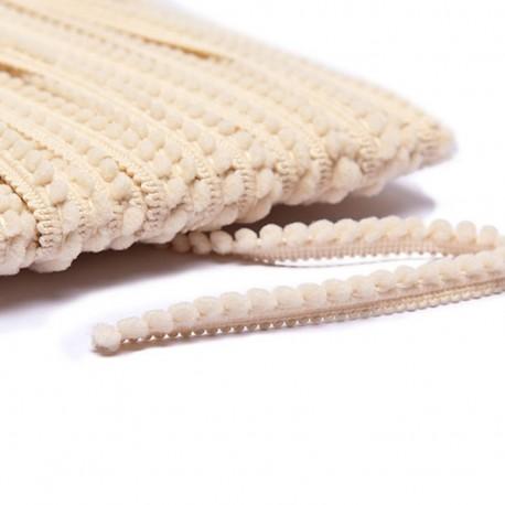 Little pompom braid trimming - light beige x 1m