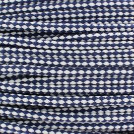Cordon tressé bicolore 7 mm - marine x 1m
