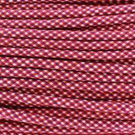 Cordon tressé Dyna 8 mm - rose/orange/blanc x 1m