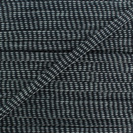 Flat Braid trimming Ribbon Diamond 11 mm - black/grey x 1m