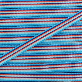 Large grain Ribbon multi stripes 10 mm - blue x 1m