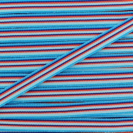 Ruban gros grain Rayures multi 10 mm - bleu x 1m