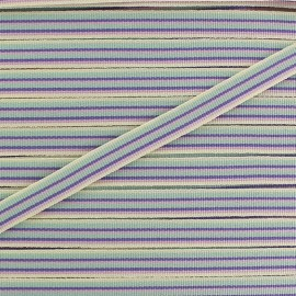 Large grain Ribbon multi stripes 10 mm - mauve x 1m
