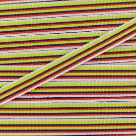 Large grain Ribbon multi stripes 10 mm - lime x 1m