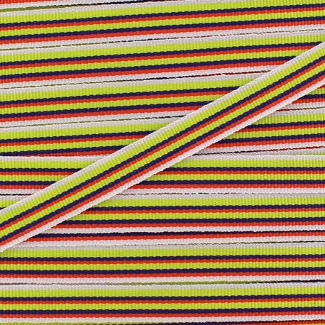 Large grain Ribbon multi stripes 10 mm - lime x 1m