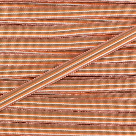 Large grain Ribbon multi stripes 10 mm - orange x 1m