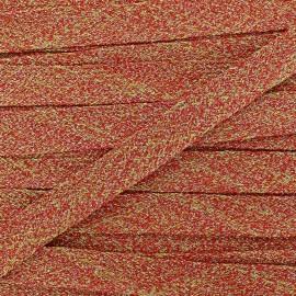 Flat braid trimming lurex Ribbon - orange x 1m