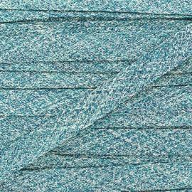Flat braid trimming lurex Ribbon - azur x 1m