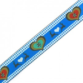 Elastique plat Christmas Love - bleu x 50cm