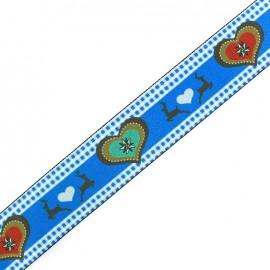 Flat elastic Christmas Love - blue x 50cm