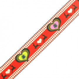 Flat elastic Christmas Love - red x 50cm