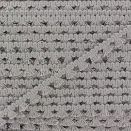 Galon mini pompon frange - gris clair x 1m