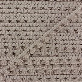 Galon mini pompon franges - taupe x 1m