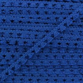 Galon mini pompon frange - bleu roy x 1m