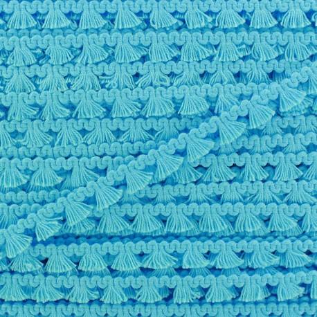 Mini pompom/fringe braid trimming - turquoise x 1m