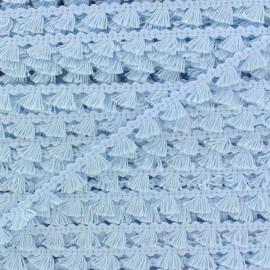 Galon mini pompon frange - bleu ciel x 1m