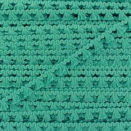 Galon mini pompon frange - vert océan x 1m