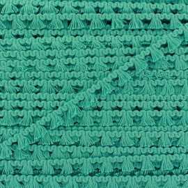 Mini pompom/fringe braid trimming - ocean green x 1m