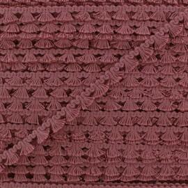 Galon mini pompon frange - vieux rose foncé x 1m