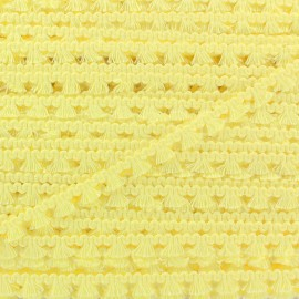Galon mini pompon frange - jaune clair x 1m