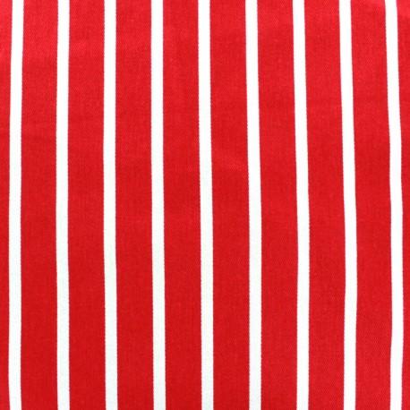 Striped twill Cotton Fabric - white/red x 10cm