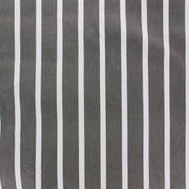 Tissu coton sergé rayures blanc/taupe x 10cm