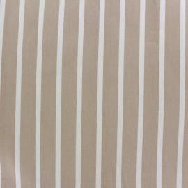 Tissu coton sergé rayures blanc/beige x 10cm
