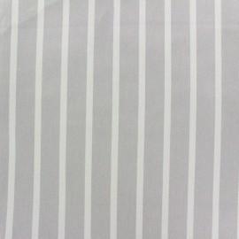 Tissu coton sergé rayures blanc/gris clair x 10cm