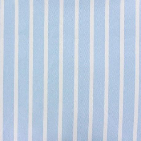 Striped twill Cotton Fabric - white/sky blue x 10cm