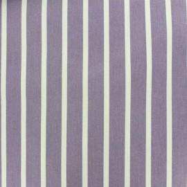 Tissu coton sergé rayures blanc/parme x 10cm