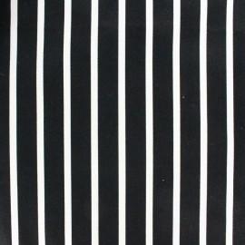 Tissu coton sergé rayures blanc/noir x 10cm