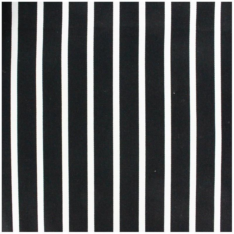Tissu coton serg rayures blanc noir x 10cm ma petite for Tapis coton noir et blanc