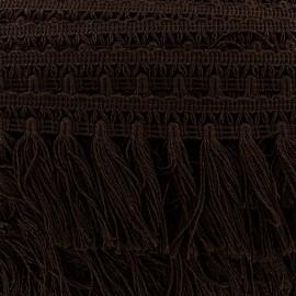 Galon grand pompon frange - marron x 50cm