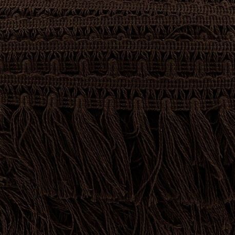 Big pompom/fringe braid trimming - brown x 50cm