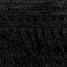 Galon grand pompon frange - noir x 50cm