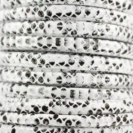 Cordon simili cuir Snake - blanc x 1m