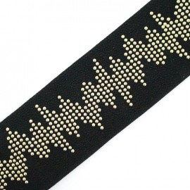 Studded flat elastic Rock 'n' Roll - black x 50cm