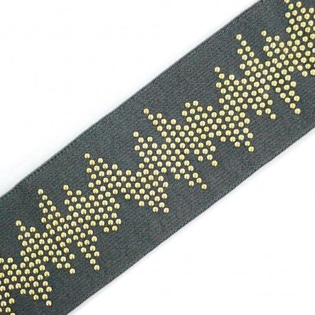 Studded flat elastic Rock 'n' Roll - grey x 50cm