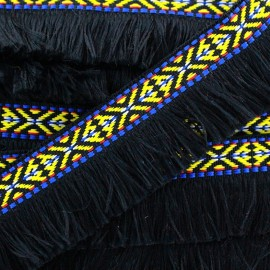 Fringe Paracas - black x 1m