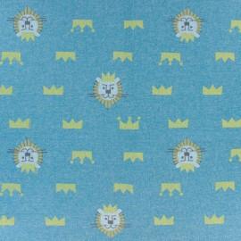 Tissu sweat Lion - bleu canard x 10cm