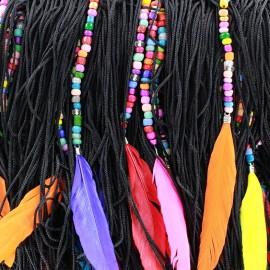 Frange Perles & Plumes - noir x 50cm
