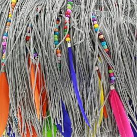 Frange Perles & Plumes - gris x 50cm